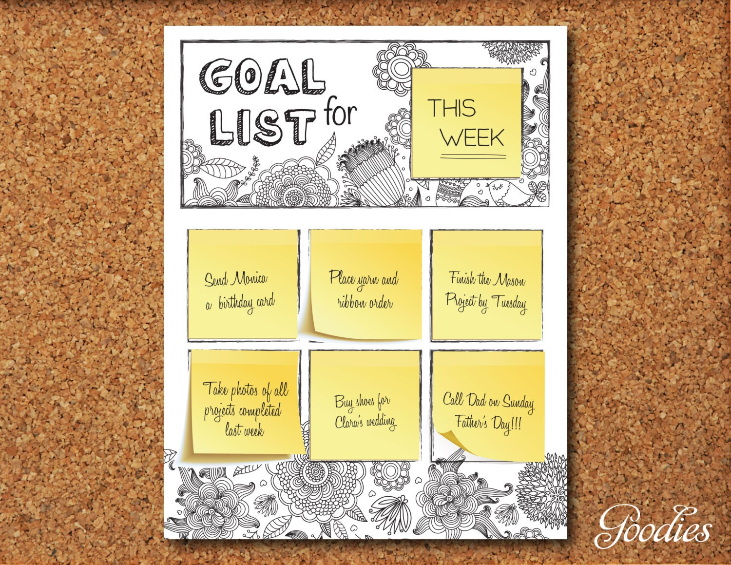It is a graphic of Genius Goal List Printable