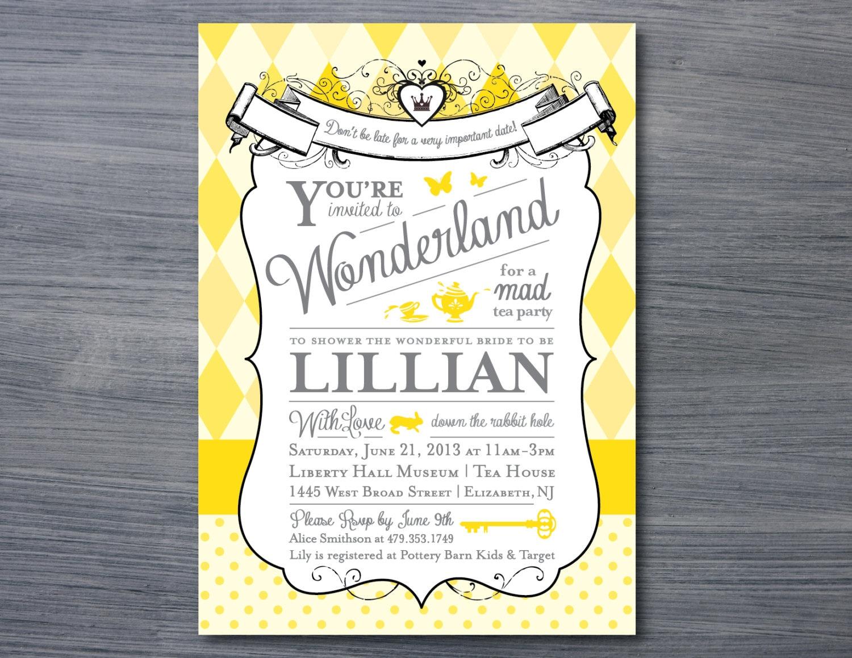 Alice in Wonderland Bridal Shower Invitation | Etsy
