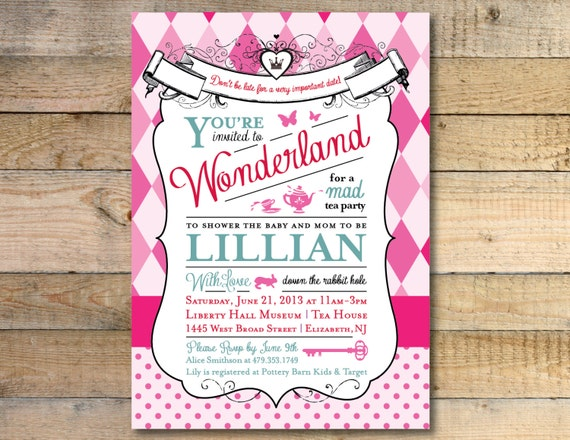 Alice In Wonderland Baby Shower Invitation Etsy