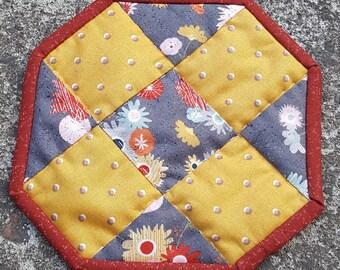 Fabric coaster, coffee cup coaster, mug rug, candle mat, condensation catcher
