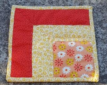 Fabric coaster, mug rug, coffee cup coaster, spring mug rug, candle mat, condensation catcher