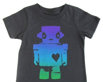 Seaweed Robot Love: Hand Printed 100% Organic Cotton Original Mushpa + Mensa Designer Toddler/Youth T-Shirt