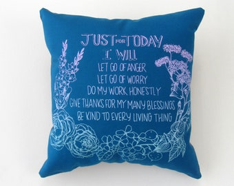 """Square Hand Printed Upcycled Fabric Square """"5 Reiki Principles"""" Original Designer Handmade Pillow with Dried Lavender Flowers in Stuffing"""