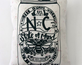 """Hand Printed on Upcycled Fabric """"NC State of Mind"""" Original Designer Handmade Pillow with Dried Lavender Flowers in the Stuffing"""