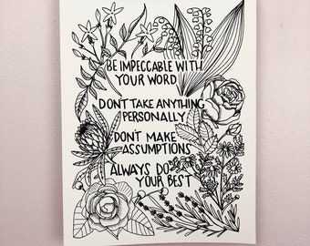 4 Agreements Black Art Print: Silkscreen Printed Hanging Art Roses, Jasmine, Lilly of the Valley, Protea, Chamomile, Lavender, Camellia