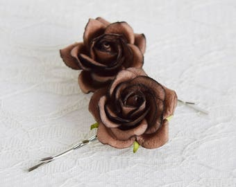 Chocolate Brown Rose Hair Pins, wedding hair accessories, bridal hair clips, dark brown pins, flower hair clips, rose bobby pins, flowergirl