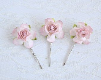 Blush Pink Rose Clips, wedding hair accessories, bridal hair clips, pink rose pins, flower hair clips, rose pins, flowergirl, bridesmaid