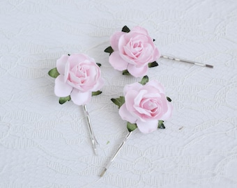 Pink Rose Hair Clips, wedding hair accessories, bridal hair clips, pink rose pins, flower hair clips, rose bobby pins, flowergirl