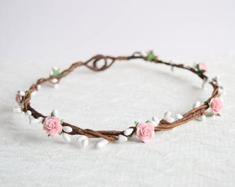 Pale Pink Rose Flower Crown, rose flower crown, spring wedding, summer wedding, flowergirl garland, floral crown, bridesmaid - LAYNA