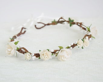 Rose Flower Crown, bridal flower crown, spring wedding, woodland wedding, flowergirl garland, floral crown, bridesmaid - Layla