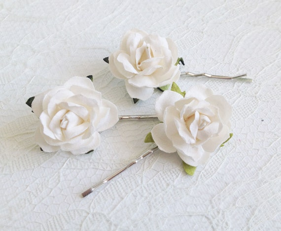 White Rose Clips Wedding Hair Accessories Bridal Hair Clips Etsy