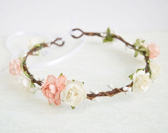 Rose Flower Crown, peach and white rose flower crown, spring wedding, woodland wedding, flowergirl garland, floral crown, bridesmaid - LILY