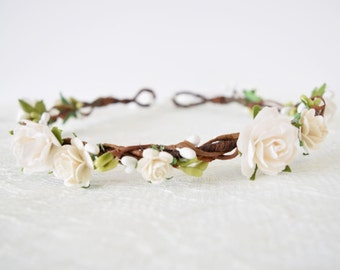 Rose Flower Crown, bridal flower crown, spring wedding, woodland wedding, flowergirl garland, floral crown, bridesmaid, white crown, 'CHLOE'