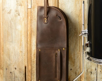Leather drumstick bag with zip, brown, vintage style, leather stick bag, drumstick case, drumsticks holder, personalization, name, Pinegrove