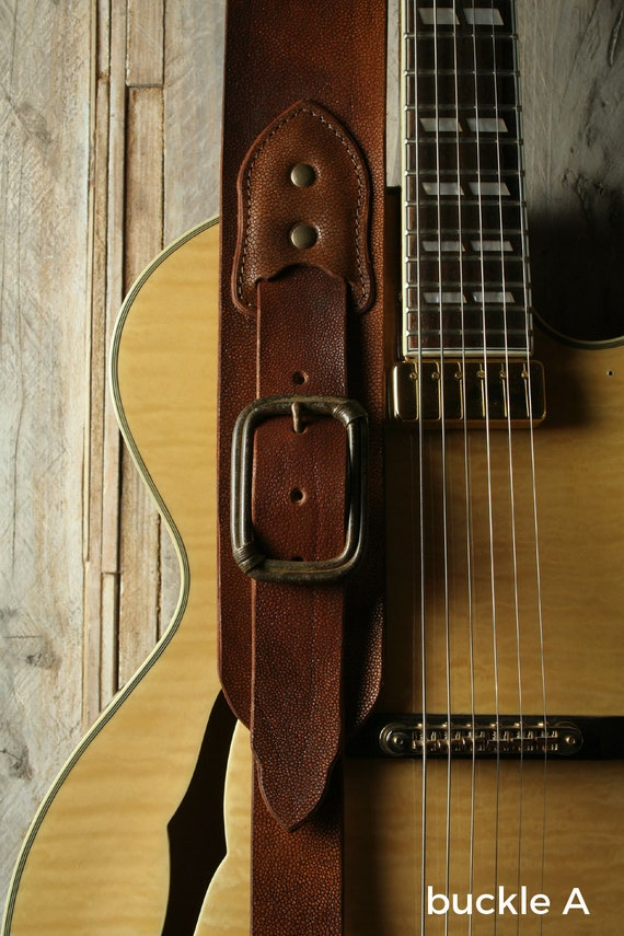 "BS79A Leather Guitar Strap with Buckle, 3""width for bass and guitar"
