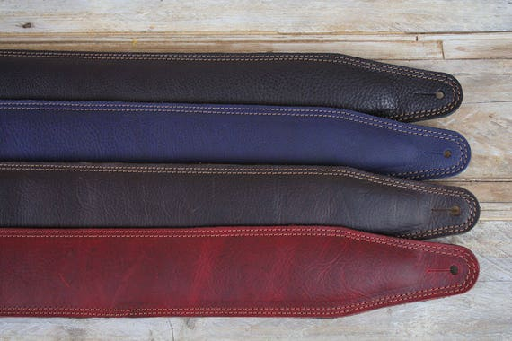 "GS61 3"" Padded Leather Guitar or Bass Guitar Strap"