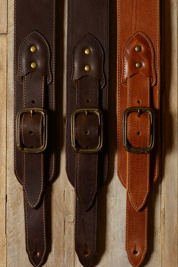 "BS79 Leather Guitar Strap with Buckle, 3"" wide for bass and guitar"
