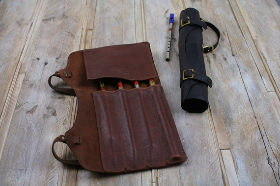 Leather penny whistle case, leather tin whistles sleeve with brass buckles and wrist strap, whistle roll,music gift