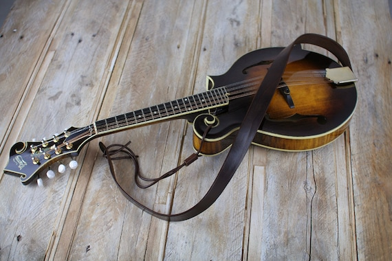 Quality Leather Mandolin Strap,  Bluegrass Mandolin Strap, full grain leather, gift for mandolin player, MS50