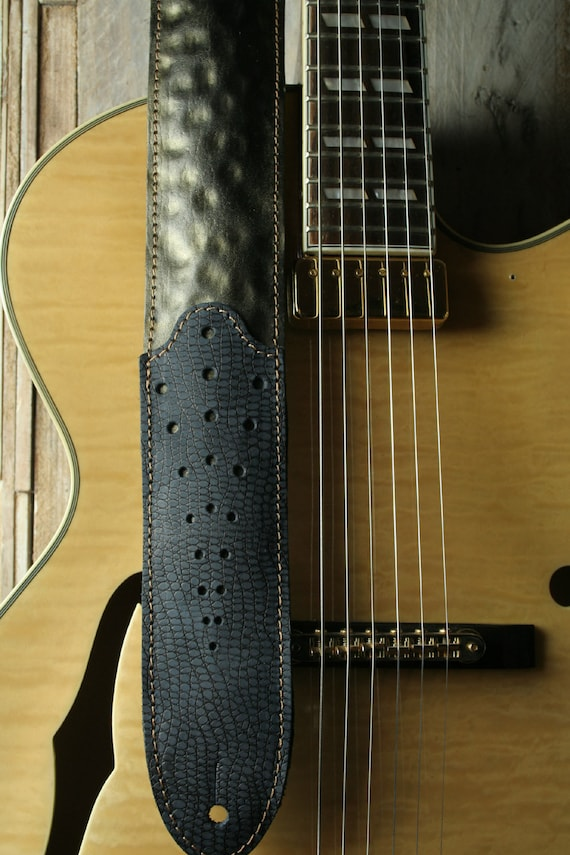 GS77 Padded Leather Guitar Strap with Two-tone Hammered Metal Effect
