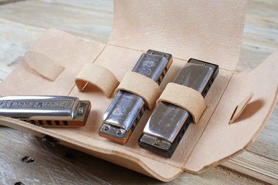 Leather Harmonica Case, Hebden Harp Pouch, thick vegetable tanned leather, for 3 harmonicas, gift for man