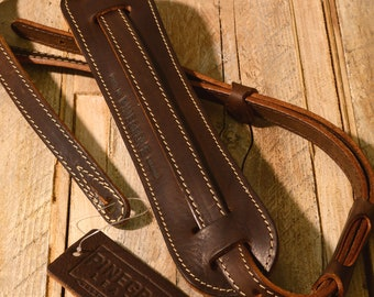 """Padded Leather Guitar Strap, GS24 Brown, vintage style, 3/4"""" width with shoulder pad"""