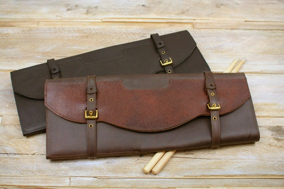 Leather stick bag with brass buckles, Western style, drumstick case, leather drumstick bag, leather stickbag, Pinegrove