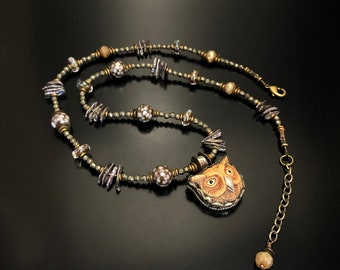Tibetan Owl and pearl necklace, owl jewelry, owl art, pearl necklace