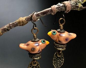 Pink and bronze bird earrings,lampwork jewelry,bird earrings,bird jewelry BE-15