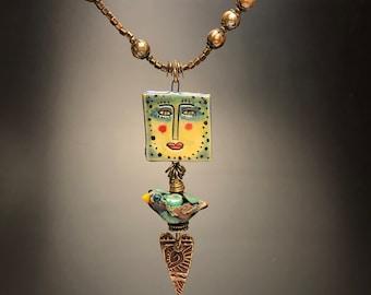 Bird and pearls necklace, Bird jewelry,Elegant whimsy jewelry, Bird necklace