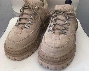 SALE PLATFORM sneakers beige suede leather EU 39 90s hip hop style