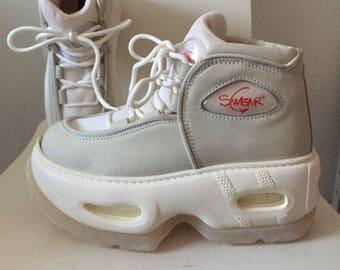 a6375125a56704 Verkauf schwören Eu 39 extrem seltenen Plateau Schuhe aus weißem Leder  Nylon Rave Club Kind Stiefel der 90er Jahre