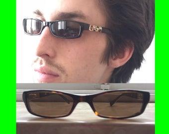 e597ef344f90 SALE WANG vtg 90s shape slim sunglasses with rhinestone