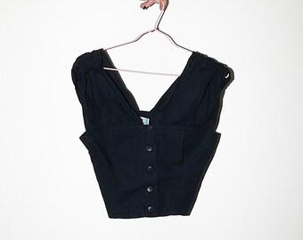 ac622b7ebd615 Bolero 80s black coton vtg shirt flamenco short blouse sz S
