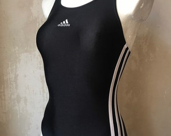 ADIDAS Vtg schwarz 3 weiße Streifen Badeanzug Größe SXS | Etsy