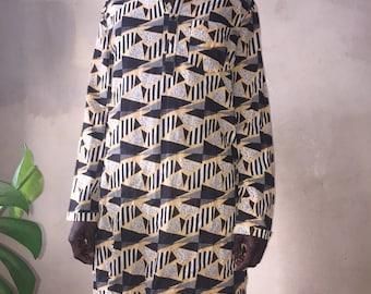 Sale Geometric pattern kaftan kurtha shirt OS unique piece / 1/1