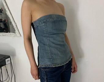 UNDERCOVER bustier corset top denim silk S
