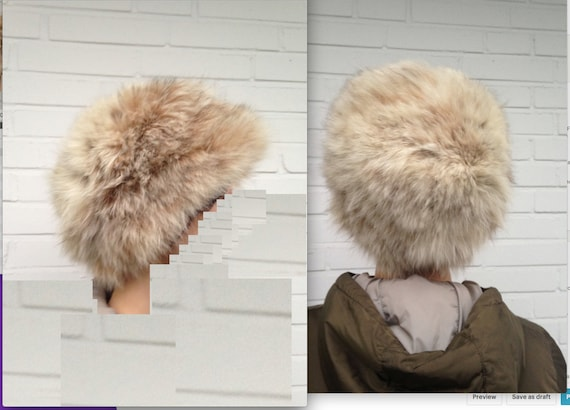 FUR vintage round hat beige genuine fur 60s