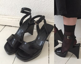 PRADA rare 90s patent black learger sandals eu 38 reserved dont purchase