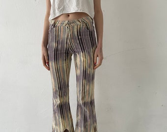 Corduroy custom flared pants bleached burned S