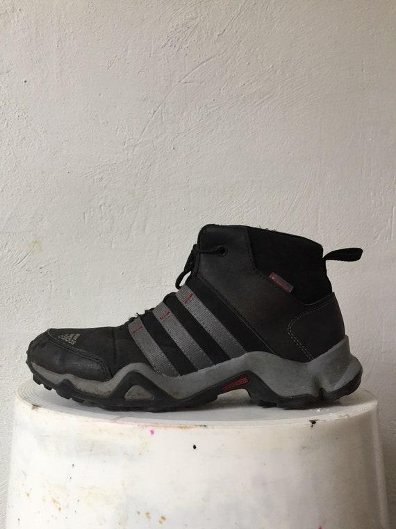 low priced 17535 50272 ADIDAS 90s grey neoprene 3 stripes high top sneakers us 6 nerd   Etsy