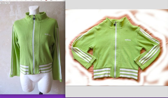 ADIDAS 90s vintage apple green big rip zip up shor