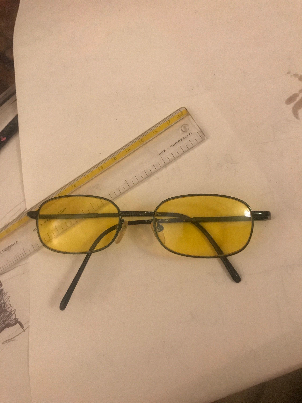 GREEN Metal frame yellow sunglasses vtg