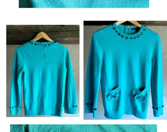 MARC JACOBS 90s green wool pullover sz M with jewellery ornaments