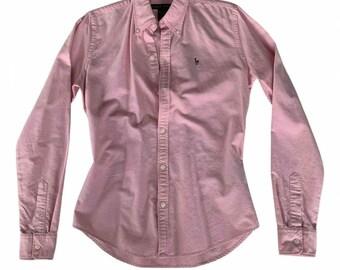 RALPH LAUREN vtg rose button up long sleeve shirt woman sz 4 \S