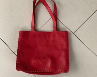 TOTE Handbag bright red leather vtg