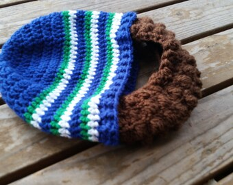 9d5dc74e313 Crochet retro seahawks inspired beard beanie