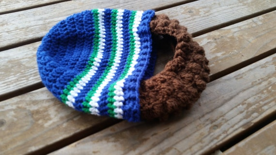 Crochet retro seahawks inspired beard beanie  c39b91131c1