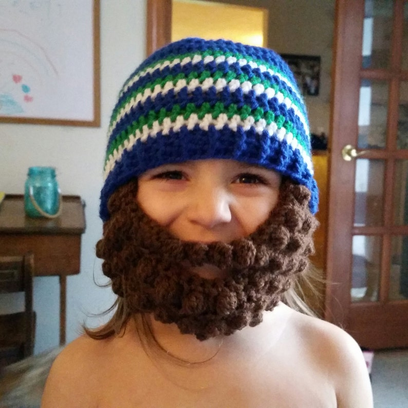 e49503e3 Crochet retro seahawks inspired beard beanie