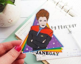 star trek pride sticker, voyager pride sticker, janeway sticker, janegay, gay pride sticker, nerd pride, star trek voyager, captain janeway